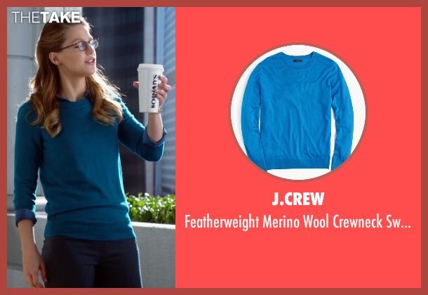 J.Crew blue sweater from Supergirl seen with Kara Danvers/Supergirl (Melissa Benoist)