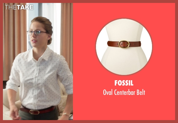 Fossil brown belt from Supergirl seen with Kara Danvers/Supergirl (Melissa Benoist)