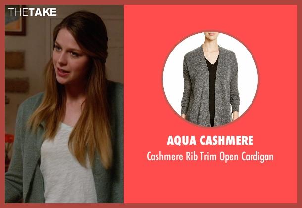 Aqua Cashmere gray cardigan from Supergirl seen with Kara Danvers/Supergirl (Melissa Benoist)