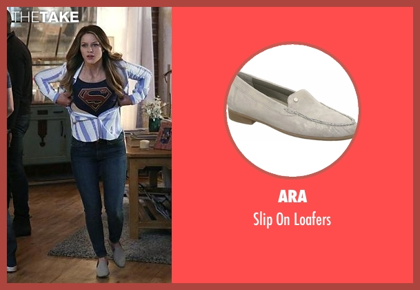 Ara gray loafers from Supergirl seen with Kara Danvers/Supergirl (Melissa Benoist)
