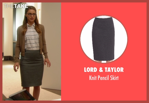 Lord & Taylor gray skirt from Supergirl seen with Kara Danvers/Supergirl (Melissa Benoist)
