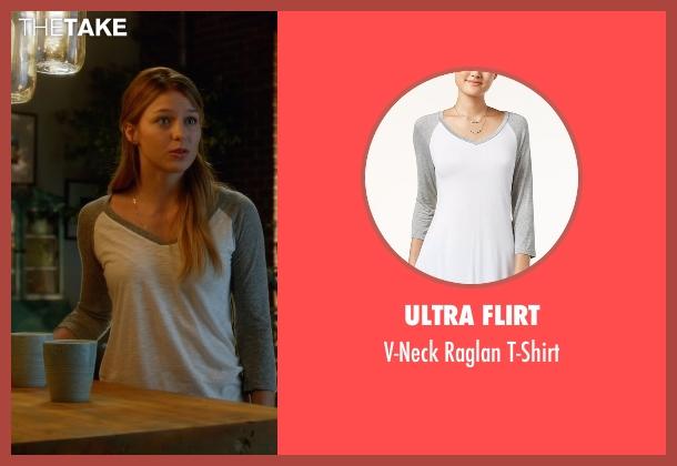 Ultra Flirt  gray t-shirt from Supergirl seen with Kara Danvers/Supergirl (Melissa Benoist)