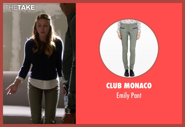 Club Monaco green pant from Supergirl seen with Kara Danvers/Supergirl (Melissa Benoist)