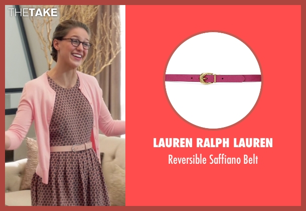 Lauren Ralph Lauren pink belt from Supergirl seen with Kara Danvers/Supergirl (Melissa Benoist)