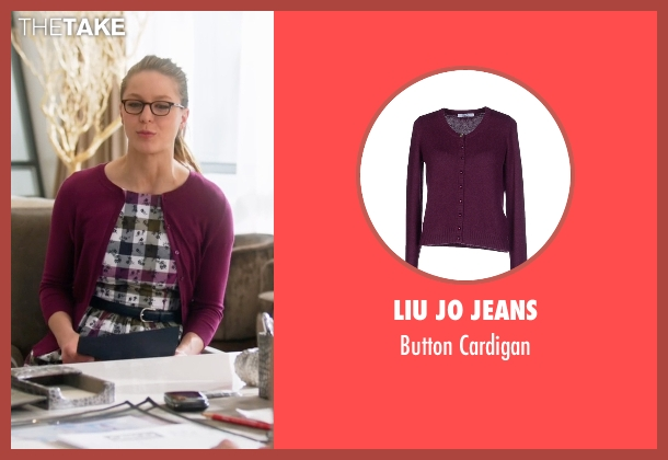 Liu Jo Jeans  purple cardigan from Supergirl seen with Kara Danvers/Supergirl (Melissa Benoist)