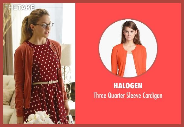 Halogen red cardigan from Supergirl seen with Kara Danvers/Supergirl (Melissa Benoist)
