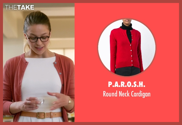 P.a.r.o.s.h. red cardigan from Supergirl seen with Kara Danvers/Supergirl (Melissa Benoist)