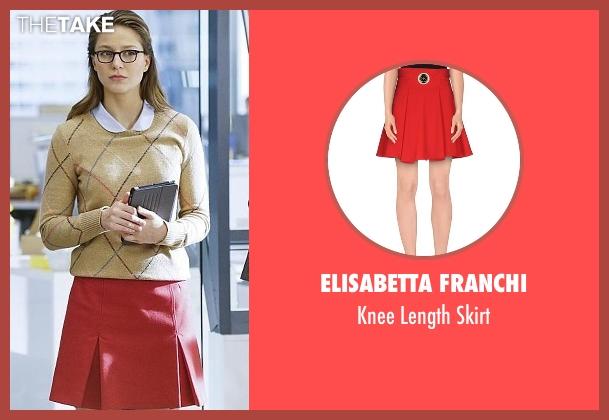 Elisabetta Franchi red skirt from Supergirl seen with Kara Danvers/Supergirl (Melissa Benoist)