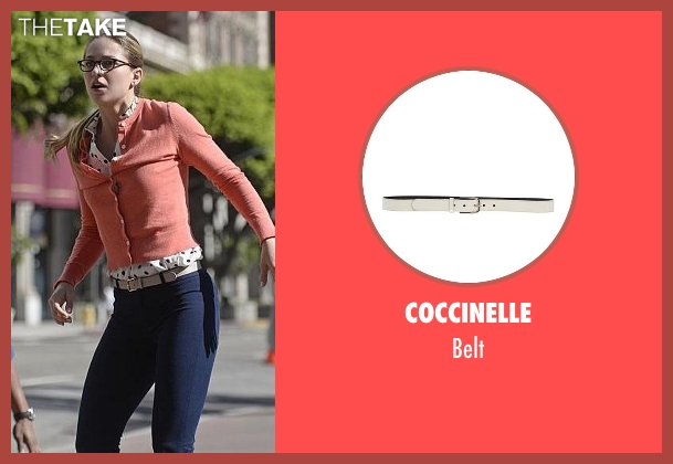Coccinelle white belt from Supergirl seen with Kara Danvers/Supergirl (Melissa Benoist)