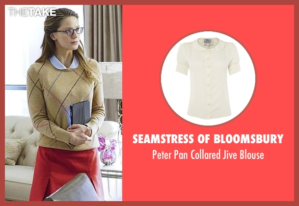 Seamstress Of Bloomsbury white blouse from Supergirl seen with Kara Danvers/Supergirl (Melissa Benoist)