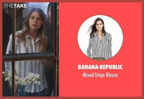 Banana-Republic white blouse from Supergirl seen with Kara Danvers/Supergirl (Melissa Benoist)