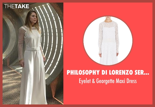 Philosophy Di Lorenzo Serafini white dress from Supergirl seen with Kara Danvers/Supergirl (Melissa Benoist)