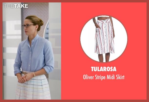 Tularosa white skirt from Supergirl seen with Kara Danvers/Supergirl (Melissa Benoist)