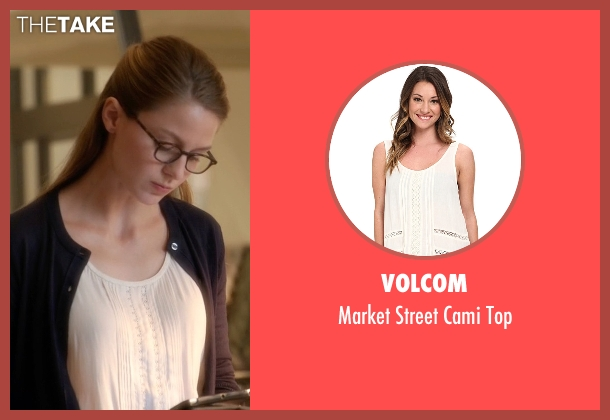 Volcom white top from Supergirl seen with Kara Danvers/Supergirl (Melissa Benoist)