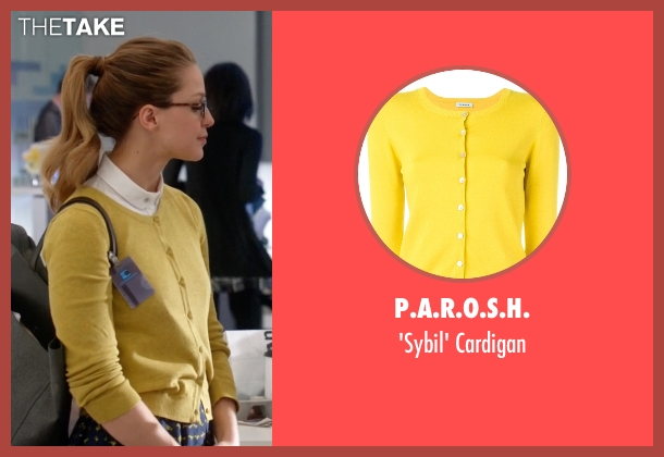 P.A.R.O.S.H. yellow cardigan from Supergirl seen with Kara Danvers/Supergirl (Melissa Benoist)
