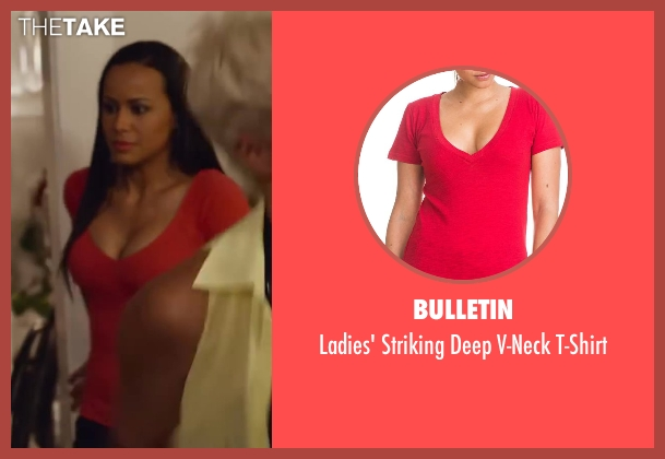 Bulletin red t-shirt from Let's Be Cops seen with Kara Michele Wilder (Gorgeous Woman)