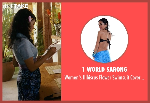 1 World Sarong blue pareo from Couple's Retreat seen with Karen David (Spa Attendant)