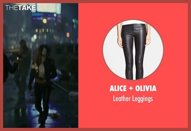 Alice + Olivia black leggings from Suicide Squad seen with Karen Fukuhara (Katana)