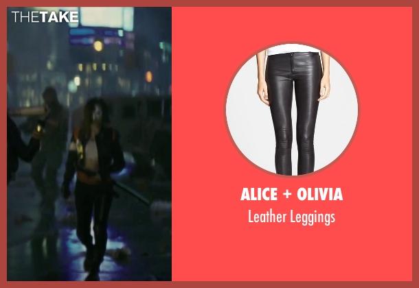 Alice + Olivia black leggings from Suicide Squad seen with Karen Fukuhara (Katana)