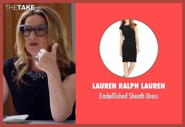 Lauren Ralph Lauren black dress from Lady Dynamite seen with Karen Grisham (Ana Gasteyer)