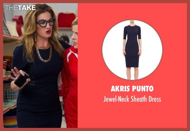 Akris Punto blue dress from Lady Dynamite seen with Karen Grisham (Ana Gasteyer)