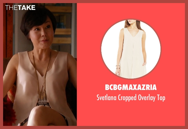 BCBGMAXAZRIA beige top from Mistresses seen with Karen Kim (Yunjin Kim)