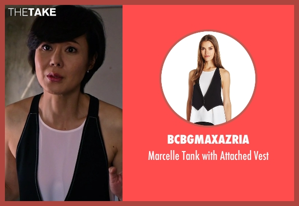 BCBGMAXAZRIA black vest from Mistresses seen with Karen Kim (Yunjin Kim)