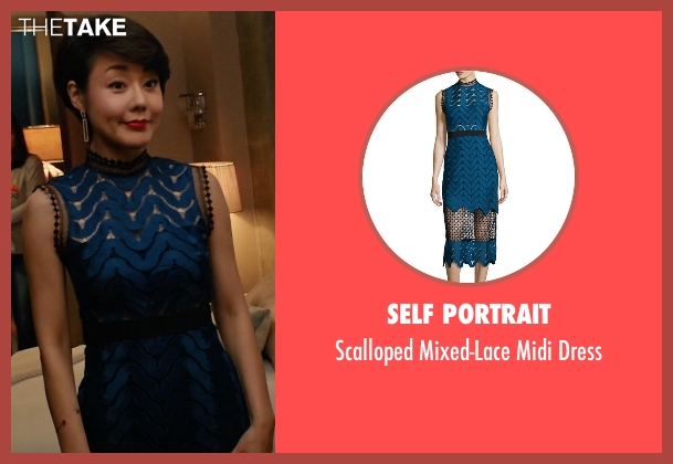 Self Portrait blue dress from Mistresses seen with Karen Kim (Yunjin Kim)