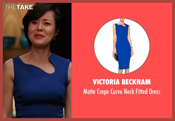 Victoria Beckham  blue dress from Mistresses seen with Karen Kim (Yunjin Kim)