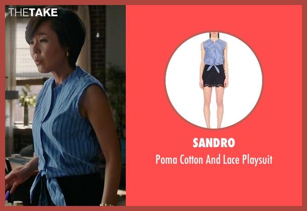 Sandro  blue playsuit from Mistresses seen with Karen Kim (Yunjin Kim)
