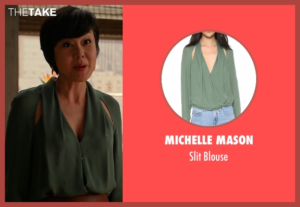 Michelle Mason green blouse from Mistresses seen with Karen Kim (Yunjin Kim)