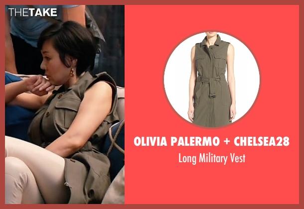 Olivia Palermo + Chelsea28 green vest from Mistresses seen with Karen Kim (Yunjin Kim)