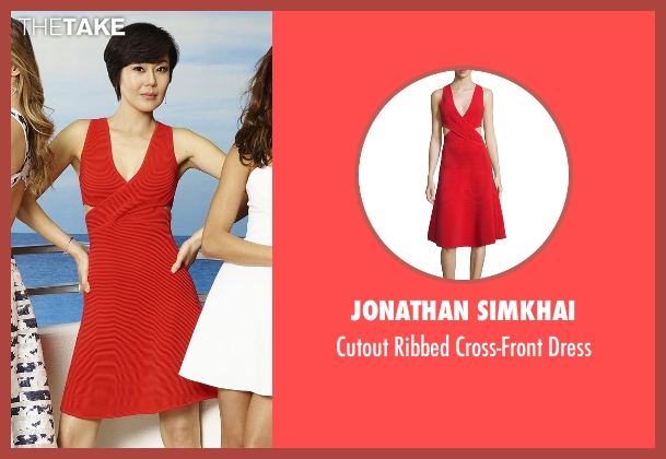 Jonathan Simkhai red dress from Mistresses seen with Karen Kim (Yunjin Kim)