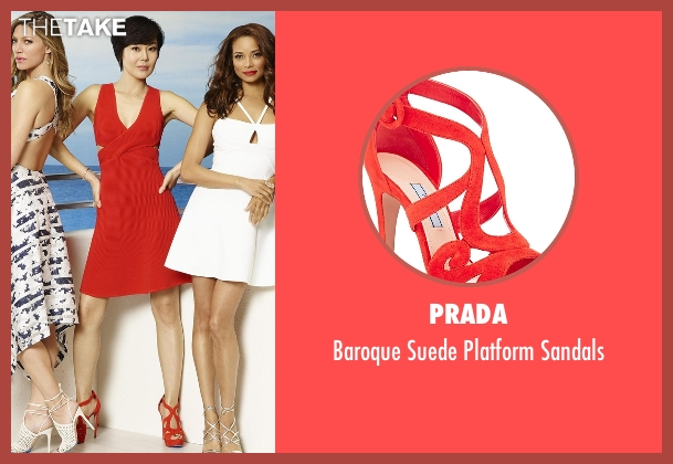 Prada red sandals from Mistresses seen with Karen Kim (Yunjin Kim)