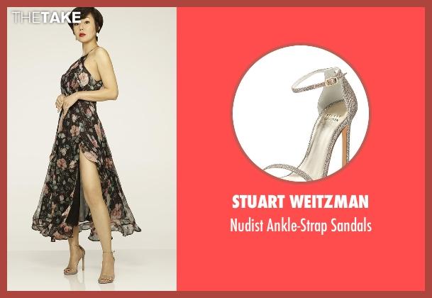 Stuart Weitzman silver sandals from Mistresses seen with Karen Kim (Yunjin Kim)