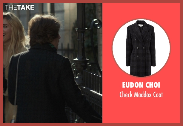 Eudon Choi black coat from That Awkward Moment seen with Karen Ludwig (Mrs. Rose)