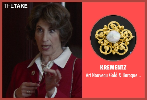 Krementz gold brooch from That Awkward Moment seen with Karen Ludwig (Mrs. Rose)