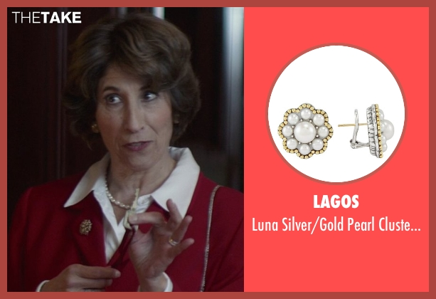 Lagos white earrings from That Awkward Moment seen with Karen Ludwig (Mrs. Rose)