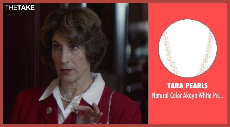 TARA Pearls white necklace from That Awkward Moment seen with Karen Ludwig (Mrs. Rose)