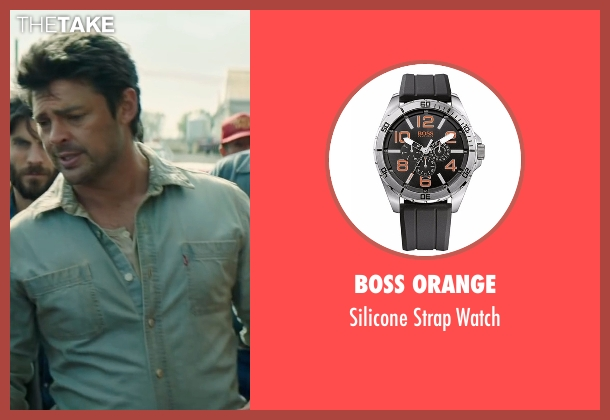 Boss Orange black watch from Pete's Dragon seen with Karl Urban (Gavin)