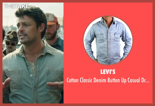 Levi's blue shirt from Pete's Dragon seen with Karl Urban (Gavin)