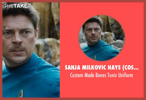 Sanja Milkovic Hays (Costume Designer) blue uniform from Star Trek Beyond seen with Karl Urban (Bones)