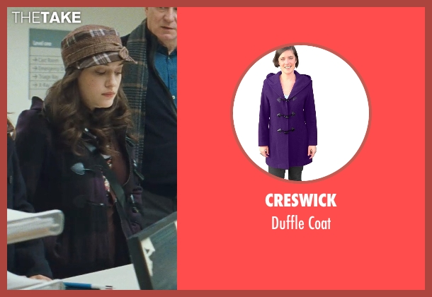 Creswick purple coat from Thor seen with Kat Dennings (Darcy Lewis)