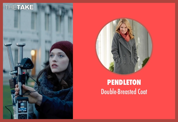 Pendleton gray coat from Thor: The Dark World seen with Kat Dennings (Darcy Lewis)