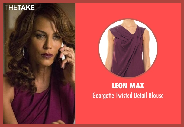 Leon Max purple blouse from Rosewood seen with Kat (Nicole Ari Parker)