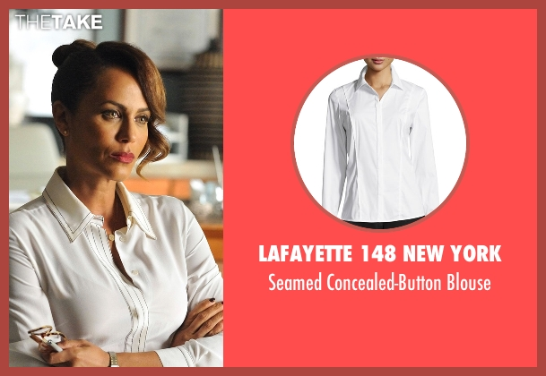 Lafayette 148 New York white blouse from Rosewood seen with Kat (Nicole Ari Parker)