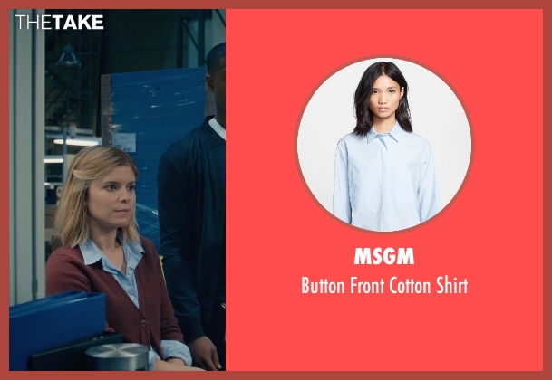 MSGM blue shirt from Fantastic Four seen with Kate Mara (Sue Storm / The Invisible Woman)