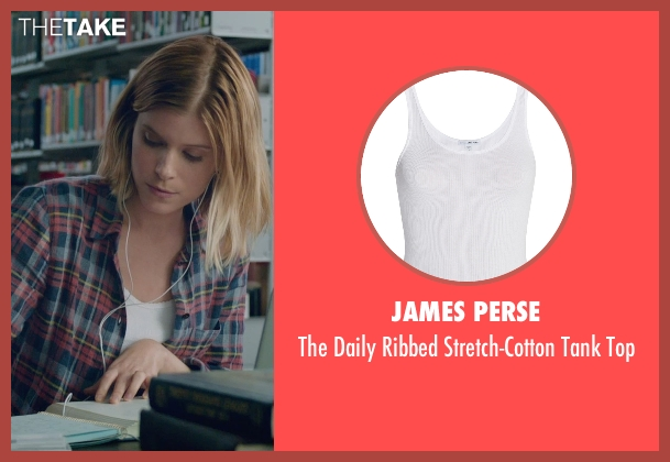 James Perse white top from Fantastic Four seen with Kate Mara (Sue Storm / The Invisible Woman)