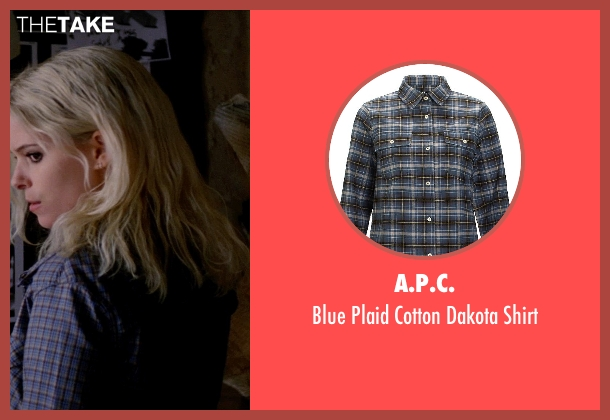 A.P.C. blue shirt from Transcendence seen with Kate Mara (Bree)