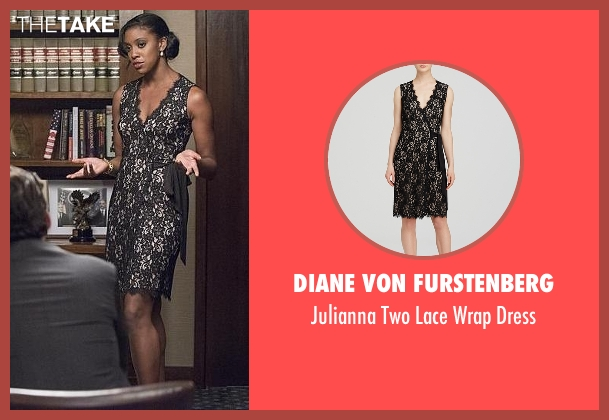 Diane Von Furstenberg black dress from Billions seen with Kate Sacher (Condola Rashad)